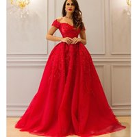 Wholesale champagne sweetheart neckline prom dress resale online - Gorgeous Evening Gowns Floor Length Sweetheart Neckline Lace Appliques Beading Pearls A Line Red Prom Dresses Arabic