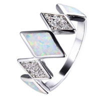 Wholesale Gorgeous Opal - Unique White Rainbow Fire Opal Ring White Gold Filled Wedding Party Zircon Rings For Women Men Gorgeous Jewelry Bijoux