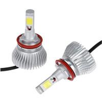 Wholesale Automobile Parts Wholesale - Auto Car H8 H9 H11 LED Headlights 2X24W 5000K 4400LM 12 24V COB Bulbs 2sides Diodes White Automobiles Replace Parts Head Fog Lamp