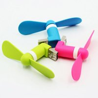 Wholesale Mini Mobilephone - 6 Colors Portable Cellphone Mini USB Fan 2 in 1 For Computer PC Power Bank Mini Fan For Micro Android Mobilephone