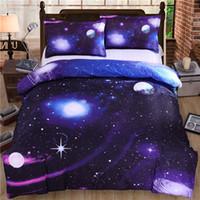 3d bedding set оптовых-Оптовые-горячие 3d одеяла галактики устанавливают двойное / королевы размер Вселенная Космическое пространство Тематические Покрывало 2/3 / 4шт Постельное белье Постельные принадлежности Комплект пододеяльника