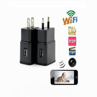 Wholesale Mini Hidden Camera Plugs - CCTV H.264 1080P WiFi remote wireless hidden camera Mini charger camera EU US Plug PI camera for android IOS Mobile Mini DV