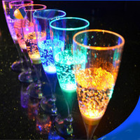 Wholesale flashing led goblet resale online - Colorful LED Light Flashing Cup Beer Bar Mug Drink Cup LED Champagne Plastic Inductive Color Cup Goblet for Party Wedding Drinkware