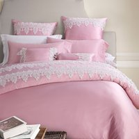 Wholesale Lace Cotton Twin Sheets - Wholesale- 4 6-Pieces Imitated Silk Lace Luxury Bedding Set King Size Queen Bed Set Wedding Bedding Sets Duvet Cover Bed Sheet Pink