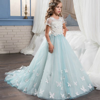 UK palace wedding dress - Short Sleeve Lace Girls Wedding Dresses Flower Girls' Dresses Palace Princess Style Pageant Dresses for Dance Wedding Party CM023