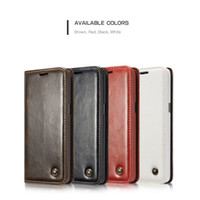 Wholesale Capa Galaxy - Caseme Phone Cases Fundas for Samsung S8 S7 S6 edge S5 Business Case Capa for Galaxy Note5 Genuine Leather Magnet Flip Wallet Case