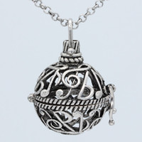 "Wholesale Musical Lockets Wholesale - Wholesale Antique Silver Musical Note Box Locket Aromatherapy Fragrance Essential Oil Diffuser Openable Pendant 30"" Chain Necklace Jewelry"