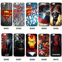Wholesale Iphone Case Spider Man - Marvel Superman Cover for iPhone 8 Case Batman Dark Knight Spider Super Man Captain America for iPhone 7 Plus 6S 6 5 5s