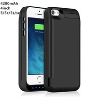 Wholesale Extended Battery Pack - Extended Rechargeable Battery Case for iPhone 5 5c 5s se 4200mAh USB Power Bank Capacity Backup Charger Case Pack
