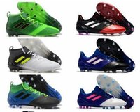 Wholesale shoes soccer for messi for sale - Cheap ACE FG leather soccer cleats for men soccer shoes Orginal ACE football boots primeknit messi shoes blackout Mens new arrival