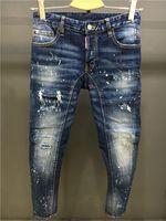 Wholesale Men Jean Trousers - High quality fashion New Style Brand DSQ Men's Denim Jean Embroidery DSQ2 Pants Holes D2 Jeans Men Pants Trousers Button trousers