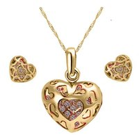 Wholesale Eastern Element - 2 Colors 18K Gold Plated Crystal Heart Jewelry Sets made with Swarovski Elements Sets for Women Shinny Zircon Wedding Luxury Jewelry Set