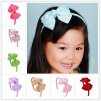 neonhaar verbeugt sich großhandel-20 TEILE / LOS Neon Farbe Haarband Handgemachte Boutique Haarschleife haarband band Bogen Kinder Haarschmuck Für Mädchen
