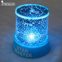Wholesale Led Light Star Projector Lover - Wholesale- IMINOVO Night Light With Music Starry Sky LED Mini Star Projector Lamps Battery Powered For Lovers Children Creative Gift
