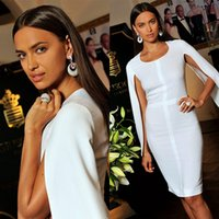 Wholesale Long Length Yellow Cocktail Dress - Sexy White Cloak Arabic Cocktail Dresses 2017 Sheath Cheap Irina Shayk Runway Celebrity Formal Wears Gowns Short Women Prom Dress