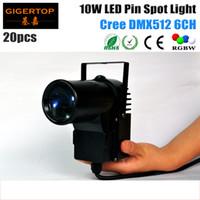 Wholesale masters track - 20pcs lot Black Case 10W Cree 4IN1 LED Pinspot Light DMX 512 RGBW Eliminator Lighting Multi-colored LED Pin Spot Track Lights