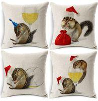 bira şapkasını iç toptan satış-Merry Christmas Sincap Yastık Kapak Sarhoş Sincap Kedi Xmas Şapka Bira Fincan Yastık Dekoratif Keten Pamuk Yastık Kılıfı Hediye Kapakları