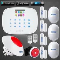 Wholesale Wireless Gsm Text - LS111- Kerui IOS Android APP Wireless GSM Alarm System TFT Color Display Autodial Text Burglar Intruder Security Alarm flash siren