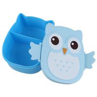 Wholesale Owl Tableware - Wholesale- Fun Life Bento box Cartoon cute owl Bento Lunch meal box tableware blue