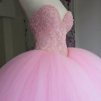 Wholesale T Back Shirts For Girls - Puffy Ball Gown Pink Sweet 16 Dresses Quinceanera Dress Long Sweetheart Appliques Beads Vestidos De 15 Anos Shiny Prom Gowns For Girls 2017