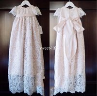 Wholesale Sheath Ivory Flower Girl Dresses - Light Pink Sweety 2017 Sheath Empire Flower Girls Dresses Jewel Short sleeve Covered Button Lace Appliques with Bow Communication Dress
