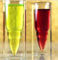 bira bar tasarımları toptan satış-Çift Katmanlı Cam Mermi Fincan Temizle Bira Kupa Tasarımları Mutfak Aksesuarları Votka viski beyaz şarap Bar Şarap Gözlük KKA1867