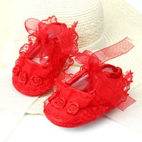 Wholesale Crib Shoes Flowers - Baby Girl Shoes First Walkers Baby Girls Toddler Lace Flower Princess Shoes Soft Sole Non-slip Crib ShoesShoes Set Newborn Photography Props