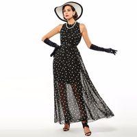 Wholesale Dot Dress Long - Fashion Women's polka dots Maxi dress long Casual Summer Beach Chiffon Party Dresses style cheap vestidos de festa