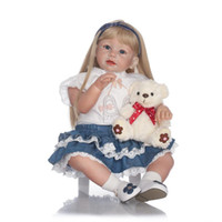 Wholesale 70cm Lifelike Reborn Baby Realistic Soft Silicone Toddler Girl Dolls Blonde Long Hair for Women Girls Gift