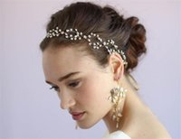 Vintage Wedding Bridal Crystal Rhinestone Headband Pearl Hair Band Fita Princesa Crown Tiara Jóias Jóias de ouro Headpiece Wholesale