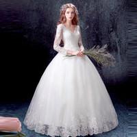 train de balle de mariage en mariage coréen achat en gros de-robe de bal blanche 2017 princesse à manches longues col en V profond balayage train creux sexy coréenne mariée taille personnalisée robe de mariée