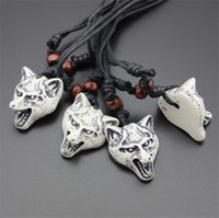 Wholesale Carved Bone Pendants Necklaces - New Fashion Carved Totem Bionic Bone Wolf Pendants Necklaces Simulated-Bone Wolf Necklaces Length Rope Adjustable Jewelry For Men Women