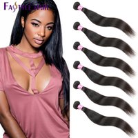 Fastyle Brazilian Straight Hair Extensions 6 Pacotes UNPROCESSED Peruvian Malaysian Indian Virgin Human Weave Wefts Free Shipping