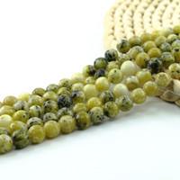 Wholesale Howlite Semi Precious Stones - Yellow Howlite Round Semi Precious Gemstone Beads 4 6 8 10mm Full Strand 15 inch L0153#