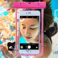 Wholesale Orange Pvc Led Lights - Universal Waterproof Phone Case for Iphone 7 6s 5SE Samsung s7 edge s8 Cover Clear LED Luminous PVC Diving Swim Underwater Pouch Bag