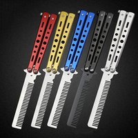 Wholesale Stainless Sharpening Steel - Non Sharpening Stainless Steel Folding Knife Comb Training Butterfly Practice Style Knife Comb Tool 5 Colors 3004020