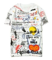 Wholesale Street Swag - summer American popular logo kanye west high street hip-hop DOODLE SWAG Rocky alien handpainted graffiti short sleeve T-shirt off white kany