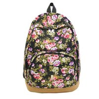 Wholesale Teenage Cloth Wholesale - Wholesale- 2015New national wind leisure Travel Bags Canvas Floral Daily Backpack cloth art Women's Fashion Backpacks for teenage girls