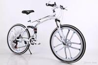 Wholesale 26 inch mountain bike wheels - 26 Inch 21 Speed Double Folding Mountain Bike Absorption Shift Speed Road Bike Double Disc One Wheel Ten Rim Bikes Bicycle