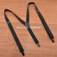 Wholesale Trousers Suspenders Women - Wholesale-3 Clip Suspender Fashion Solid Black 110 120cm Leather Unisex Suspenders Women Mens Braces For Trousers Elastic Belts Straps