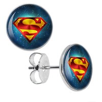 Wholesale Plug Superman - Wholesale 50 pieces lot Surgical Steel Superman Space Logo Ear Stud Earrings Fake Plugs Cheater Fashion Jewelry Size 10mm*0.7mm ZCST-096