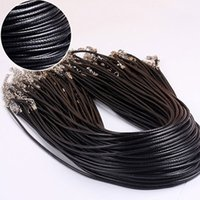 Wholesale Rope Clasp Plastic - Black Wax Leather Snake Chains Necklace Beading Cord String Rope Wire 45cm+5cm Extender Chain with Lobster Clasp DIY jewelry