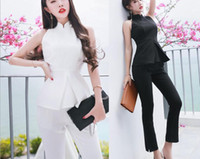 Wholesale Cheongsam Temperament - 2017 summer new Korean ladies temperament fashion sleeveless cheongsam collar suit set two sets