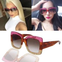 Wholesale Sun Logos - 0083 S Sunglasses Large Frame Sparking 0083S Square Sun Glasses Hot Brand Women Desiger with Big Logo If you want other can contact me 0083