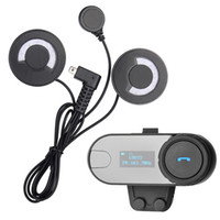 Wholesale Rider Pc - Wholesale- 1 pc BT Bluetooth Interphone Motorcycle Helmet Wireless Headset Intercom with LCD Screen for 3 Rider+ FM Radio+Soft Headphone