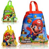 Wholesale Mario Drawstring Bag - 12 pcs Super Mario Bros Backpack Cartoon Drawstring bags Birthday party supplies Child Back to School Gifs