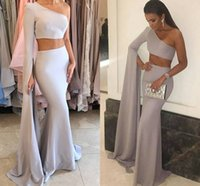Wholesale One Shoulder Evening Dresses Shirt - Elegant Two Piece Mermaid Evening Dresses One Shoulder Long Sleeves Satin Floor Length Silver Gray Prom Dresses Arabic Formal Evening Gowns