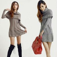 Wholesale Grey Black Sweater Dress - Wholesale-2016 Fashion Women sweater dress winter warm woman pullover poncho long knitwear +scarf shawl grey,brown,beige,black,navy blue