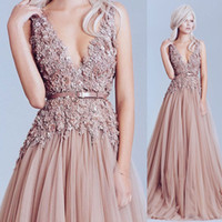 Wholesale Big Flower Pictures - 2017 Pink Gorgeous A-Line Evening Dresses with Big V-Neckline Hand-Made Flowers Floor Length Sleeveless Prom Gowns