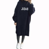 Wholesale ladies korean winter dresses - Wholesale- HziriP Winter Spring Ladies Long Sleeve Sweatshirt Dresses Warm Thicken Hoodie Dress Korean Fashion Pullover Women Casual Tops